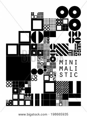 Subdivided grid system with symbols. Randomly sized objects with fixed space between. Futuristic minimalistic layout. Conceptual generative background. Procedural graphics. Creative coding