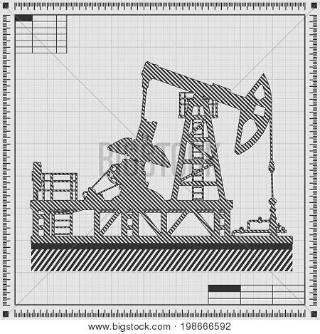 Blueprint of oil pump silhouette. Detail vector illustration.