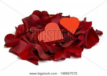 Red Rose Petal with two red hearts isolated on white background