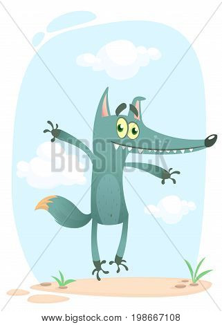 Cartoon funny wolf or coyote. Vector illustration isolated on white. Icon design