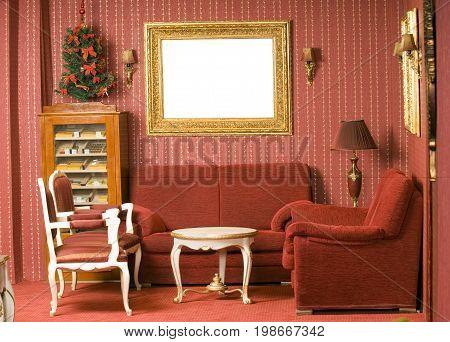 Red interior design, retro wallpaper , elegance design
