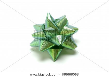 Green bow isolated on white, decorative bow