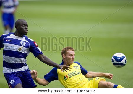 LONDON, UK AUGUST 2, Antimo Lunco and Patrick Agyemang at the pre-season friendly football match between QPR and Chievo,