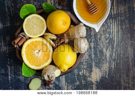 tray with ingredients for making immunity boosting healthy vitamin drink