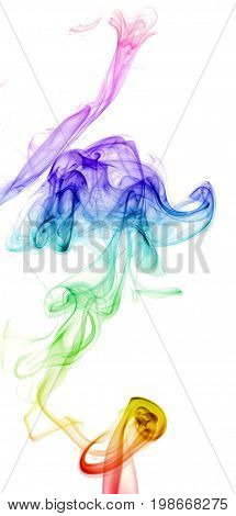 Colorful Rainbow Smoke isolated on white, abstract