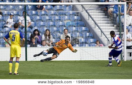 LONDON, UK AUGUST 2, Dexter Blackstock scores from the penalty spot at the pre-season friendly football match between QPR and Chievo,