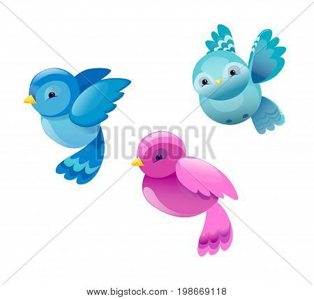 Vector Colorful Cartoon Bird, Cute Bird Vector Illustration, Bird on White background