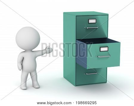 3D character showing an archive cabinet with one open drawer. Isolated on white background.