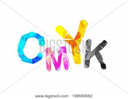 CMYK abbreviation. Vector triangular inscription on white background