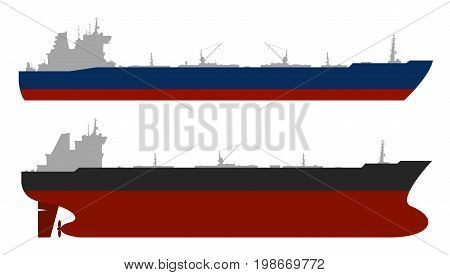 Set of 2 oil tankers isolated white background. Vector illustration