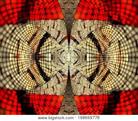 Computer generated fractal artwork with bipolar pixels