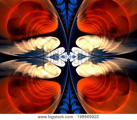 Computer generated fractal artwork with bipolar wings