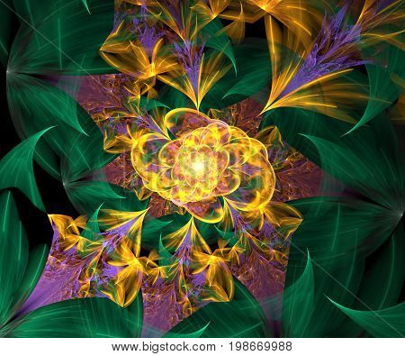 Computer generated fractal artwork with flower garden