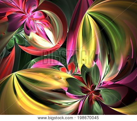 Computer generated fractal artwork with painted flowers