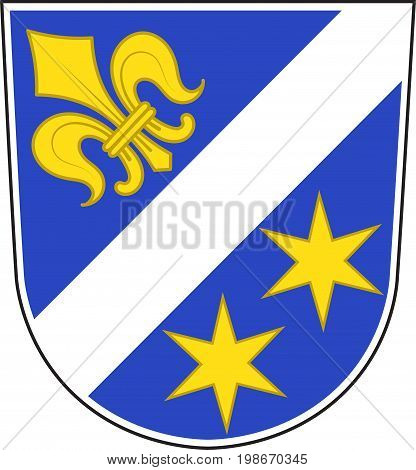 Coat of arms of Dillingen on the Danube is a town in Swabia Bavaria Germany. Vector illustration from the