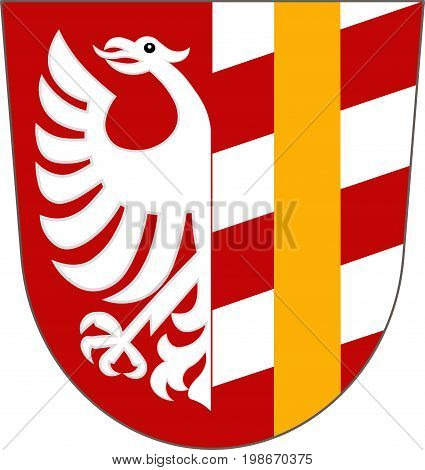Coat of arms of Gunzburg is a district in Swabia Bavaria Germany. Vector illustration from the