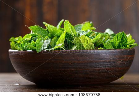 Fresh mint ripped off in a clay brown plate fragrant cooking herbs