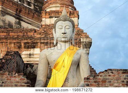 Buddha Status at Wat Yai Chaimongkol Ayutthaya Thailand