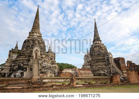 Wat Phra Si Sanphet Phra Nakhon Si Ayutthaya. Where is the world heritage of Thailand.