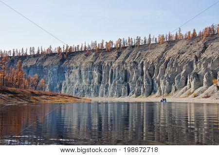 Rafting and fishing Siberian taiga fall river Evenkiya the river Moiyero Siberia