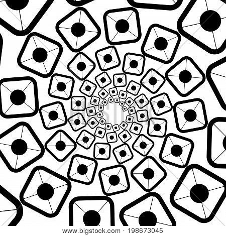 Background, Pattern, Black And White Spiral Pattern. Round Centered Halftone Illustration. Square, P