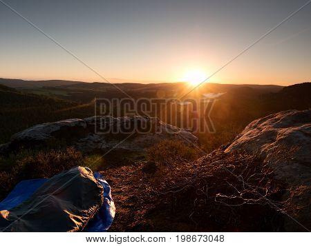 Beautiful Awakening In  Rocks.  Sleeping In Nature In Sleeping Bag. View From Rocky Peak