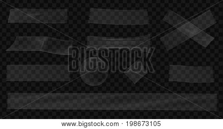 Transparent scotch. A set of adhesive tapes. Vector realistic illustration