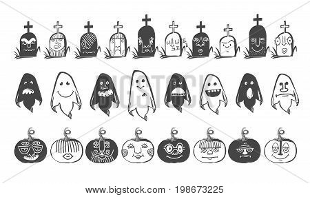 Horror doodle Avatars in Black color with different emotions. Halloween set of avatars in black and white. Sketch styled vector illustration. Grave, ghost, pumpkin cartoon characters.
