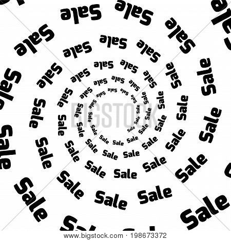Background pattern black and white spiral pattern. Round centered Halftone illustration. Sales business advertising discount.