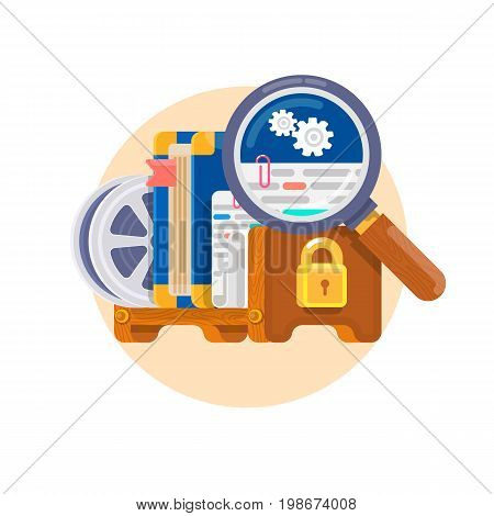 Intellectual property rights. Concept for copyright for software, books, film, patents etc. Patent and licensing legal protection. Flat vector illustration