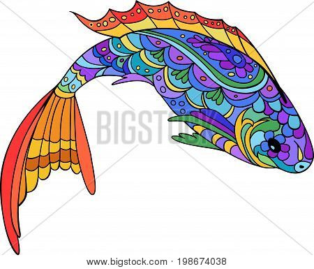 Hand drawn stylized sea fish. Catoon animal for coloring book page, fabric print, tattoo design. Isolated colorful fish