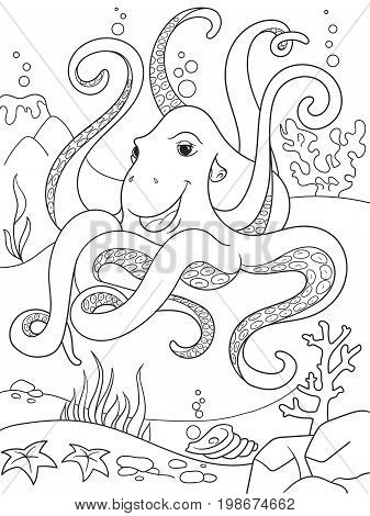 Childrens coloring cartoon animal friends in nature. Underwater world, octopus on the ocean floor. Anti-stress for adult. Black and white lines