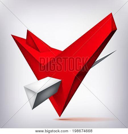 Volume geometric shape, 3d levitation crystal, creative low polygons object, vector design origami heart form
