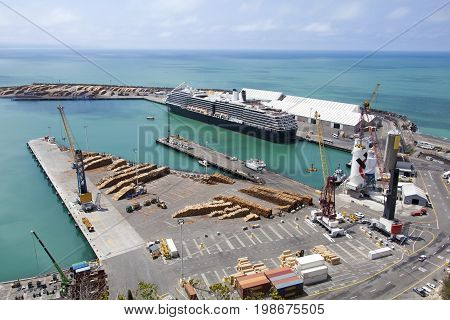 The cruise ship docked in Napier town port (New Zealand).