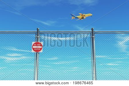 Restricted area fence and airplane flaying blue sky background. This is a 3d render illustration