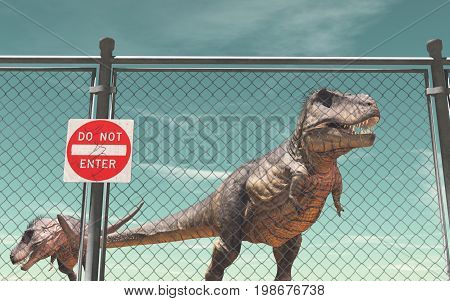Wire fence protection and dinosaurs. Do not enter. This is a 3d render illustration