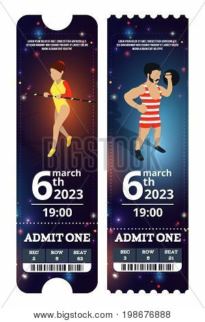 Circus tickets design. Vector illustrations in cartoon style. Circus ticket card for admit one