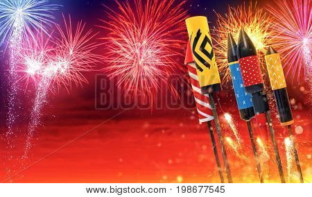 Group view of fireworks rockets launching into the sky, free space for text. Concept of celebration and New Years Eve. 3D render of rockets.