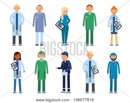 Medical personal. Male and female healthcare professionals. Vector illustrations in flat style. Medical doctor surgeon, team of paramedic, dentist and practitioner