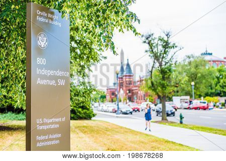Washington DC USA - July 3 2017: US Department of Transportation and Federal Aviation Administration signs headquarters at Orville Wright building on Independence Avenue