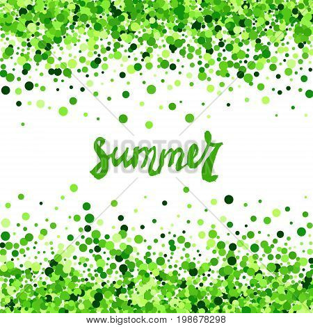 Summer vector creative banner with green scattered circles. All isolated and layered