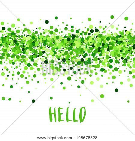 Hello summer vector creative banner with green scattered circles. All isolated and layered