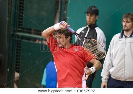 MONTE CARLO MONACO APRIL 23, Jarkko Nieminen FIN v Juan Carlos Ferrero ESP competing in the ATP Masters tournament in Monte Carlo, Monaco, 19-27 April 2008