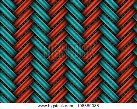 Vector seamless pattern of colored braided fiber