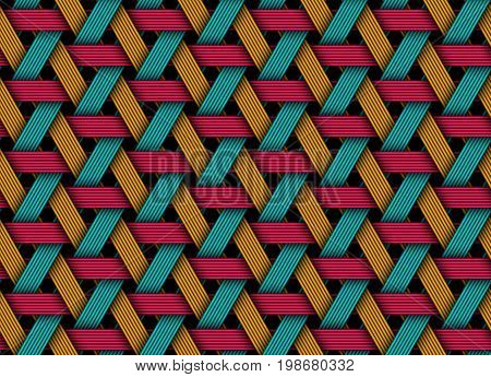 Vector seamless pattern of colored wicker fiber