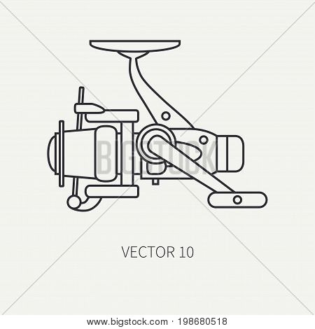 Line flat vector fisher and camping icon fishing reel. Fisherman equipment. Retro cartoon style. Holiday travel. Spinning. Lake. Boat. Catch. Nature. Illustration element for your design and wallpaper