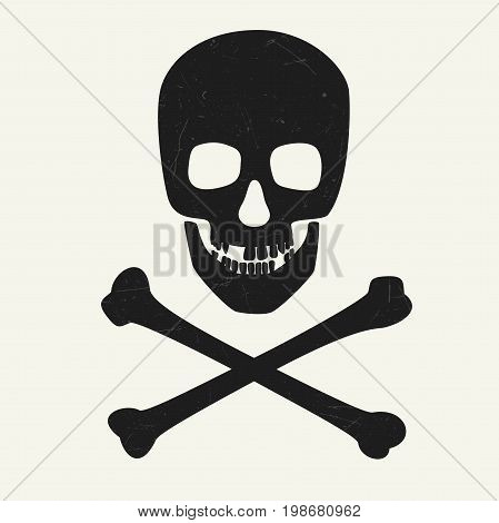 Skull and crossbones on white background. Vector illustration