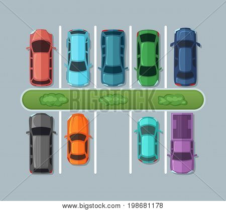 Top view parking cars on asphalt in urban map. Automobiles in the garage. Vector pictures car on parking illustration