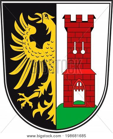 Coat of arms of Kempten is the largest town of Allgau in Swabia Bavaria Germany. Vector illustration from the