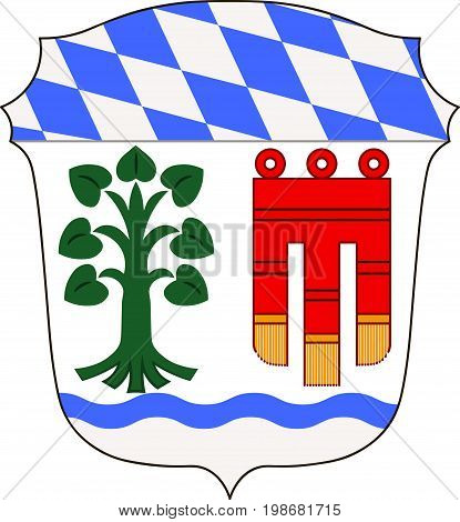 Coat of arms of Lindau is a district in Swabia Bavaria Germany. Vector illustration from the